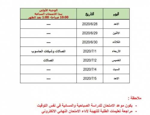 جدول امتحانات الدور الرابع التكميلي 2019-2020