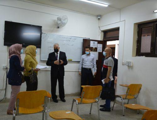 السيد العميد : يرافق اللجنة الوزارية للاطلاع على القاعات الامتحانية الحضورية